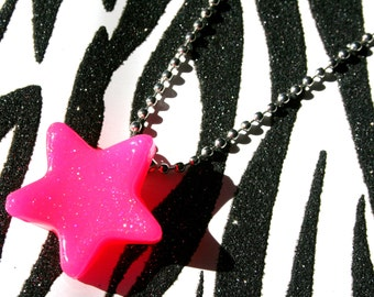 Pink Star Necklace, Neon Resin Pendant, UV Reactive Jewelry