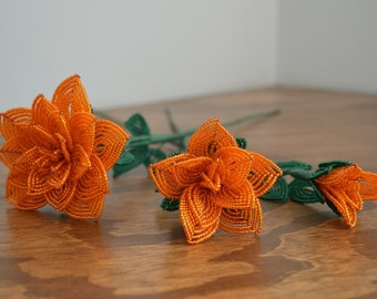 3 french beaded flowers handmade roses different sizes orange color