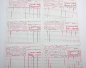 Vintage Red and White Dental Record Cards with Teeth Set of 6