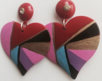 HEART ABSTRACT GEO red metric chic doll painted color block retro chic 90s 80 love oversized earring large big fashion wives enlarged size