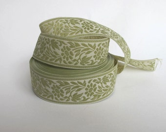 3 yards FLORAL CAMEO embroidered Jacquard trim Celadon green on ivory. 1 1/8 inch wide. 998-D