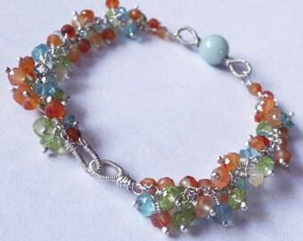 Apatite, Carnelian, Peridot -- Colorful Gemstone Bracelet