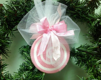 Beautiful Pink and White Christmas Ornament -- Glittered Christmas Candy -- Pink Christmas Ornament