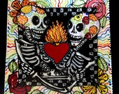 Custom Skeleton Lovers Full Color Ceramic Platter for Day of the Dead and All Year Long