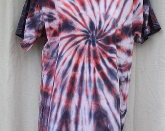 Tie Dye Shirt - Large Medium - Crew Neck - Short Sleeve - Red, White and Blue Swirl - 100% Cotton
