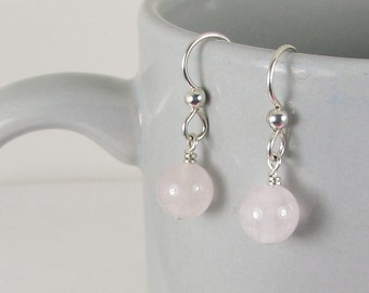 Bold Rose Quartz and Sterling Silver Earrings