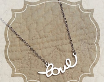 Matte Silver LOVE Pendant with Necklace