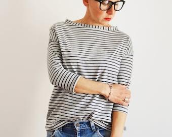 Cotton Top, T shirt, Tee for women, Tunic top, striped  T shirt,organic cotton tee,3/4 sleeve t shirt, cool t shirt