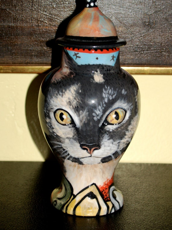 Custom small medium PET URN for dogs and cats SMALL calico grey kitty or any smaller breed