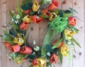 Wreath Door Hanger, Orange and Yellow Tulips with soft Green Bow full 15 inch WREATH