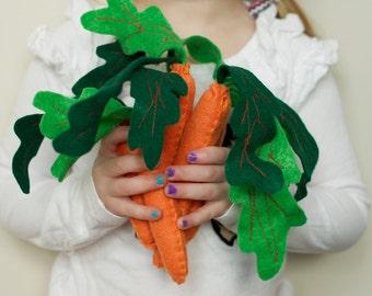 Felt Stuffed Carrots-  Bunch of 3, 100% wool felt stuffed carrots, Felt carrot set, Wool Felt Carrots, Pretend Play Food, Play Food