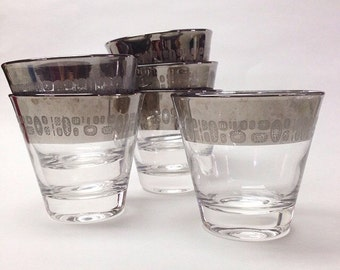 Vintage Set of Silver Trimmed Temporama Glasses Barware Set  Mid Century Modern Don Draper Mad Men ReTRo  dorothy thorpe