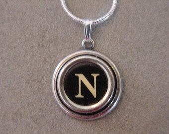 Typewriter Key Jewelery Necklace BLACK LETTER  N  Typewriter Key Necklace Initial Necklace Inital N
