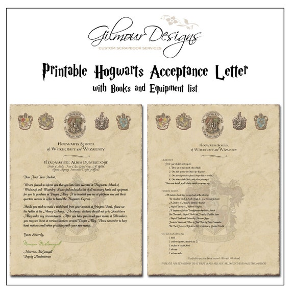 Harry Potter Book List : Harry potter hogwarts acceptance letter printable with book