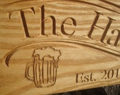 Personalized Custom Carved Hardwood Bar Sign or Family Sign