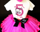 Pretty Kitty Ballerina Black Hot Pink HK 5th Fifth Girl Birthday Tutu Outfit Custom Personalized Name Age Party Shirt Set