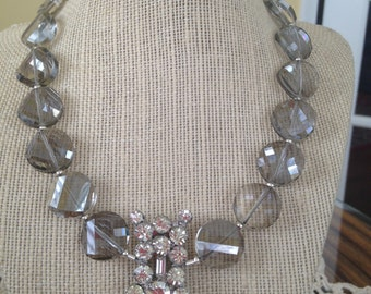 Smoked Glass Beaded Necklace with Vintage Shoe Buckle in the Center