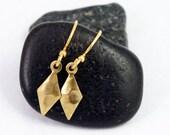 Diamond Earrings:  Petite, geometric, everyday dangle earrings