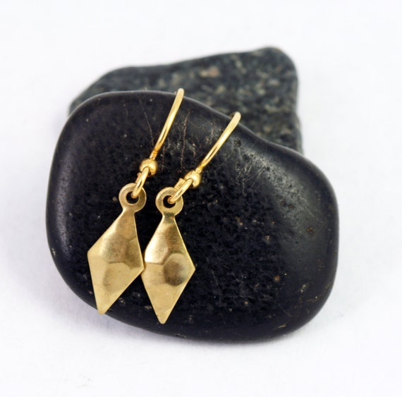 Diamond Earrings:  Petite, geometric, everyday dangle earrings