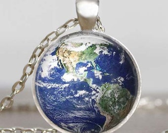 Earth pendant necklace  north and south america space ,earth photo pendant, blue planet environmental earth day jewelry