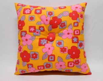 Floral Accent Pillow Home Decor Gold Pink Red Covered Buttons OOAK