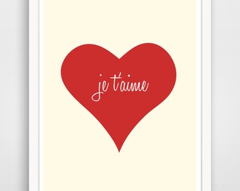 Children's Wall Art / Nursery Decor Je T'aime Heart print by Finny and Zook