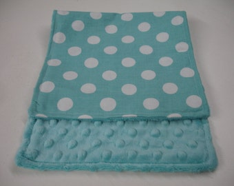 Aqua  Medium Dots Baby Burp Cloth with Minky