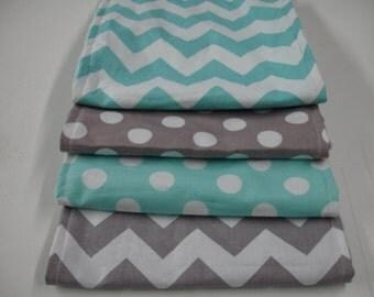 Aqua and Gray Medium Chevron and Dots Baby Burp Cloth Set with Minky