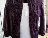 Hand Knit Sweater, Cardigan, jacket, women, Hand made,  Size M