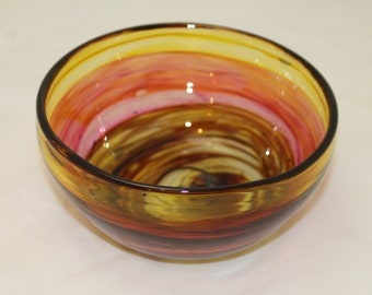 SUMMER SALE Shades of Autumn Transparent Amber, Burnt Orange, and Rich Brown Hand Blown Glass Bowl Home Decoration