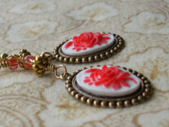 Red Rose White Cameo Earrings Antiqued Gold -  Sweatheart Gift, Romantic Jewelry
