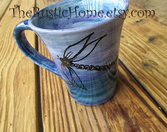 Dragonfly pottery mug dragonflies cup choose colors holds 12 ounces coffee tea mug nontoxic drink safe pottery custom colors personalized