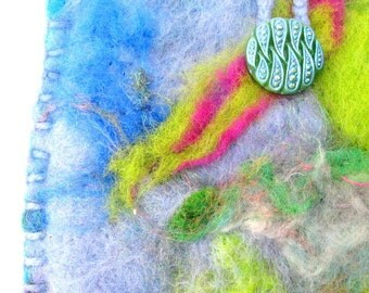 Hand Felted Pouch - Turquoise And Green