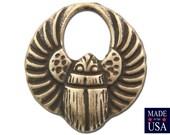 Small Brass Ox Egyptian Scarab Hoop Charms Drops 14x13mm (8) mtl030B