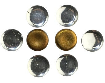 Vintage Clear Glass Foiled Cabochons 7mm (8) cab2003M