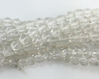 Transparent Faceted Crystal Clear Glass Beads 6mm (40) bds1500H