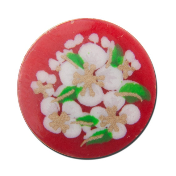 Vintage Red with White Flowers Cabochons Japan 13mm cab380