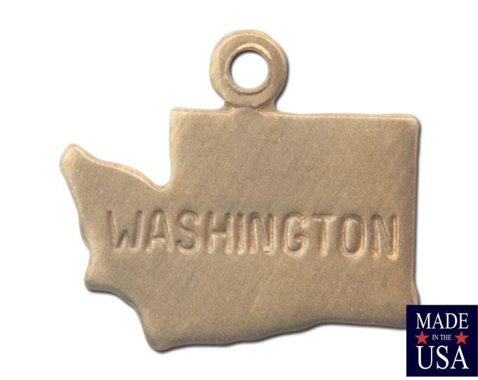 Raw Brass Tiny Washington State Charm Drops 11mm (6) chr201F