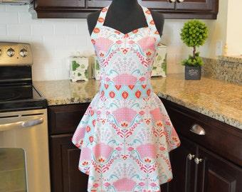 SweetHeart Bib Apron - Sassy Apron - Fancy Apron - Kitchen Apron - Peony and Hyacinth in Aqua Pink