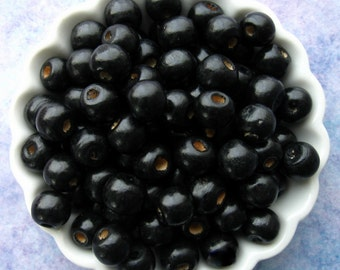 Black Wooden Beads - Over 100 - 10mm Glossy Black Wood Beads (WBD0038)