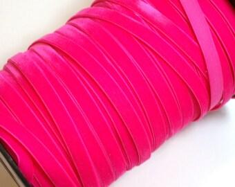 Neon Pink Velvet Ribbon, Azalea Pink Velvet Ribbon 3/8 inch wide x 3 yards, Made in England