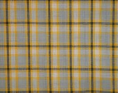 Homespun Fabric | Sewing Fabric | Cotton Fabric | Quilt Fabric | Home Decor Fabric | Plaid Fabric | Yellow White Grey And Charcoal | 1 Yard