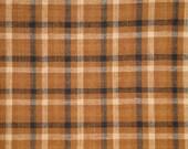 Homespun Material   Plaid Material   Cotton Material   Rag Quilt Material   Brown Black Natural Plaid Material    1 Yard
