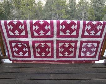 Temperance Quilt | Antique Quilt | Vintage Calico Fabric Quilt | Antique Calico Fabric Quilt | Primitive Quilt