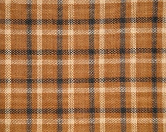 Homespun Material | Plaid Material | Cotton Material | Rag Quilt Material | Brown Black Natural Plaid Material |  1 Yard
