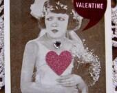 Valentine Tag, Bride Tag, Wedding, Love, Be MY Valentine, Heart, Romantic, Vintage Photo, Valentines Day, Valentine Card, Pink, Glitter