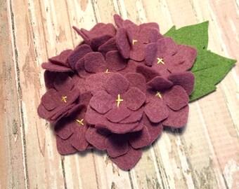 Wool Felt Fabric Hydrangea - Plum - Set of 2