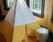 Kids Tee Pee, Play Tent, Yellow and White Daiseys, teepee tent, Woven cotton, play fort, Childrens TP