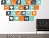 Outer Space Vinyl Wall Decal - Alphabet Wall Decal - Squares A to Z - Astronaut, Galaxy, Rocket, Planets, Space Ship - Boy - CB156