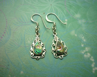 Vintage Sterling Silver Earrings - Abalone Paua Shell - 925 Hallmarked - Style 5
